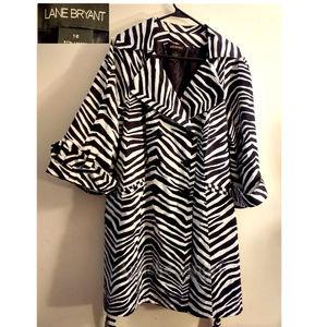 Lane Bryant Zebra Print Coat Sz 18